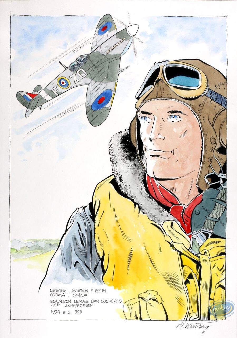 Aquarelle, Dan Cooper : Portrait with Plane 2