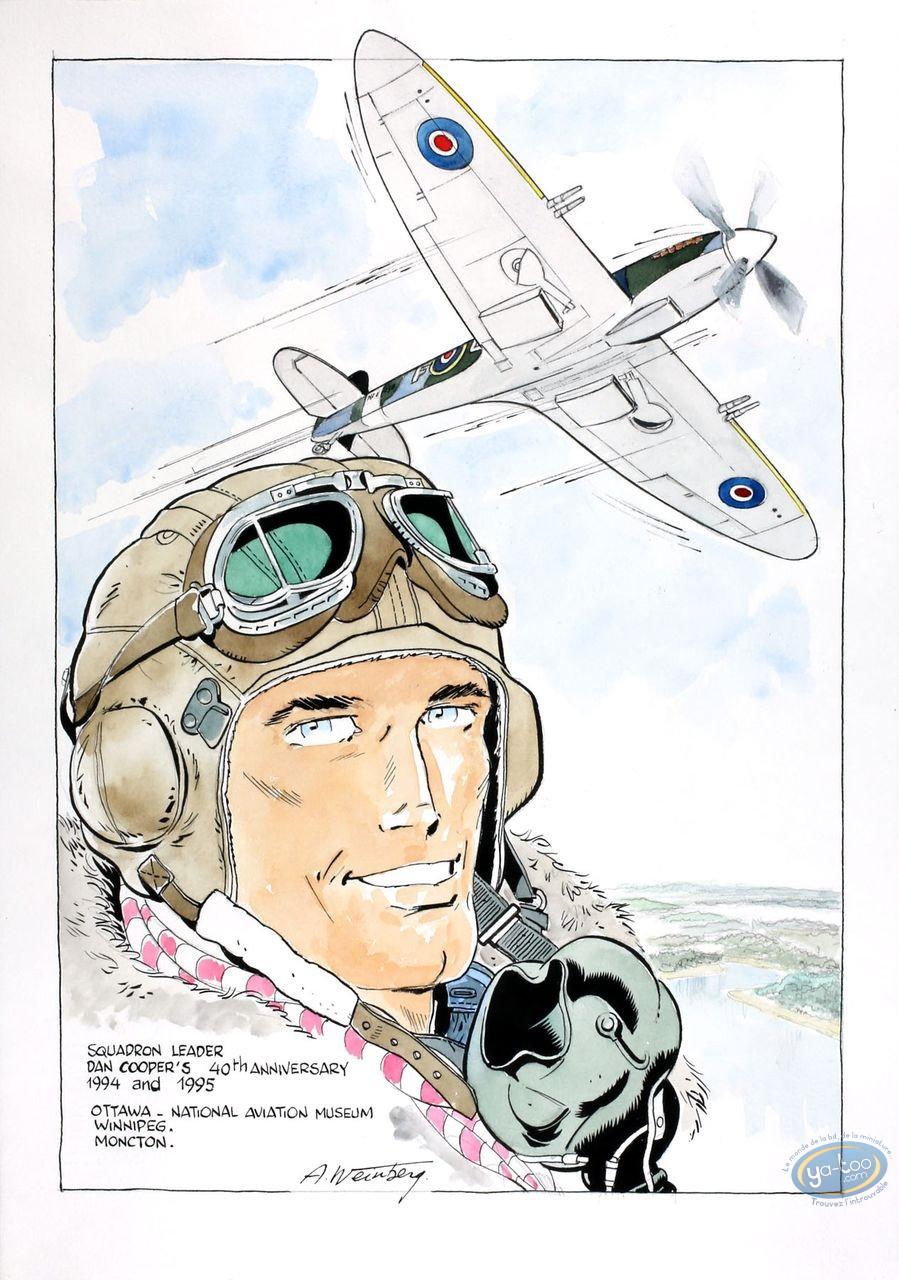Aquarelle, Dan Cooper : Portrait with Plane 3