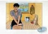 Stencil, Cahier Bleu (Le) : Louise sitting in a room
