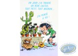 Post Card, Gaston Lagaffe : Card-Poster Birthday - One day I found a baby cactus, very small, all cute ... I thought of you!