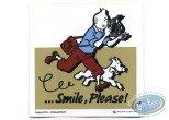 Sticker, Tintin : Autocollant publicitaire Smile Please Tintin - Beige