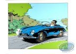 Serigraph Print, Starter : Starter driving a Porsche