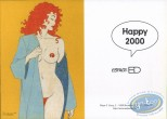 Bookplate Offset, Pin-Up : Greeting card : Naked Woman with Red hair Happy 2000