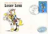 Stamp, Lucky Luke : postcard 1st day circus