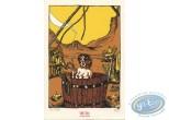 Bookplate Serigraph, Goudron Plumé : Woman in barrel
