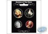 Fashion and beauty, Marilyn Monroe : 4 badges set Marilyn Monroe