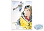 Aquarelle, Dan Cooper : Portrait with Plane 2
