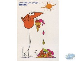 Advertising cards, Shadock for Peugeot, 'Le soleil, la plage... Relax.'