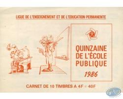 """Pad of 10 stamps """"quinzaine de l'école publique 1986"""""""