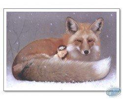 Elf sleeping and fox