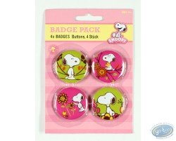 4 buttons Snoopy in nature - flowers ( 2nd version)