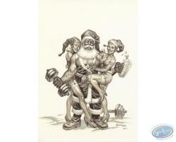 Strong Santa Claus b&w