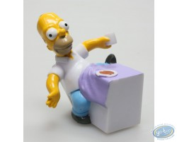 Homer Simpson sitting down to eat.