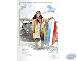 Dan Cooper Holding a Plane (beige jacket)