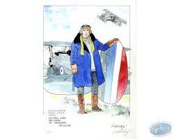 Dan Cooper Holding a Plane (blue jacket)