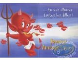 Post Card, Hot Stuff : Avec ton look d'enfer... tu vas allumer toutes les filles! Joyeux anniversaire!