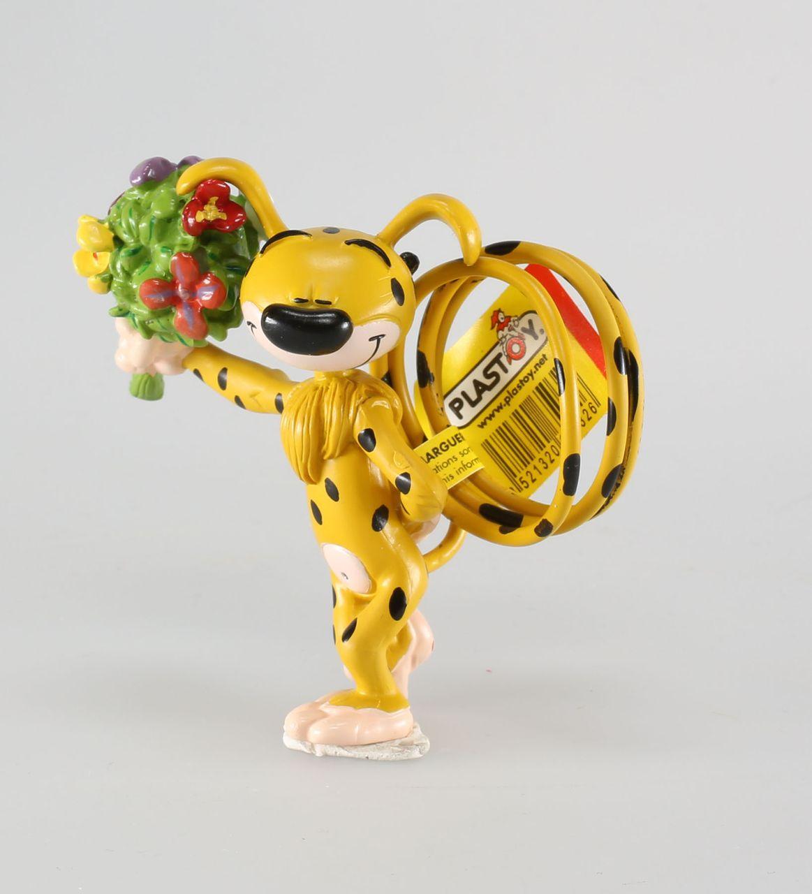 Porte-clé Marsupilami Marsupilami portant un bouquet de fleur Plastoy Le